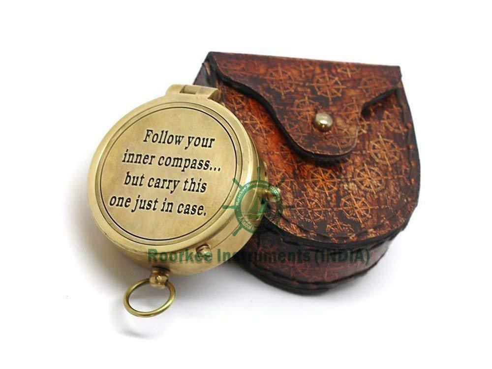 Follow  your inner. Solid Brass Compass with Compass pink Embossed Carry Case  we supply the best
