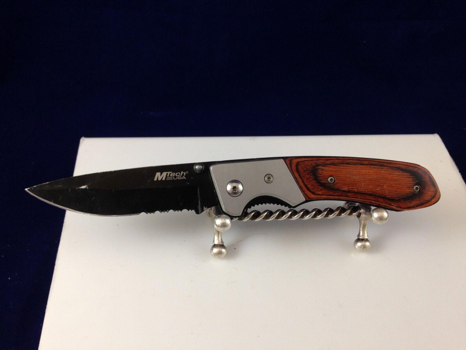 Mtech USA pocket knife 440 steel USA design nice wood handle w/ bolster linerlck