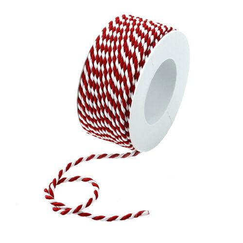 2-farbig gedreht Kordel rot//weiß ohne Draht 2-4-6mm //// 4mm// 25 Meter