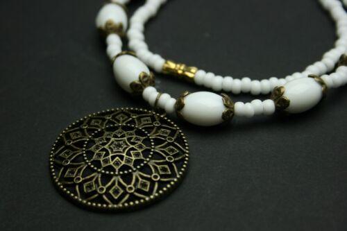 Vintage cadena blanca con perlas de vidrio + remolque + ohrhänger schmuckset