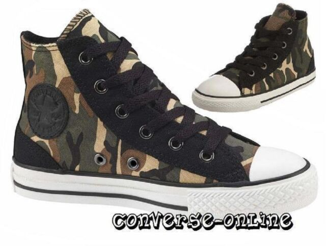 17e02d3079576c KIDS Boys Girls CONVERSE All Star BLACK GREEN CAMO HIGH TOP Trainers SIZE  UK 11