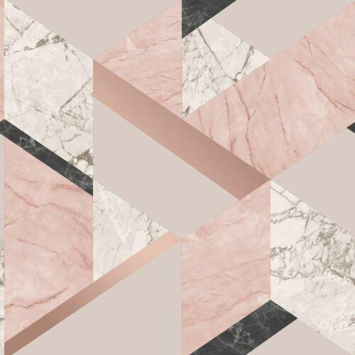 Fine Decor marblesque Géométrique Papier Peint FD42303 rose métallique