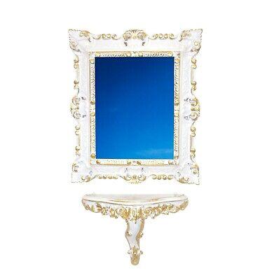 Ideacasa Set Consolle Mensola Specchio Bianco Oro Stile Barocco Veneziano Finto Vintage