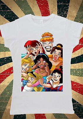 Disney All Princess Funny Joke Cinderella Cute Women T-Shirt Vest Tank Top W229