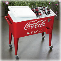 Coca Cola Cooler 80qt Rolling Retro Metal Party Ice Box Heavy Duty Handles Chest