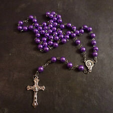Christian purple metal long rosary beads Our Lady center Catholic necklace
