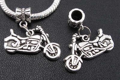 6pcs Tibetan Silver Motorcycle Pendants Dangle Charms Bead Fit For Bracelet new