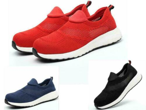 Damen Herren Mesh Sicherheitsschuhe Stahlkappe Arbeitsstiefel Schlüpfen Sneakers