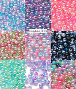 ABS 4mm 6mm 8mm Colour Acrylic Round Pearl Spacer Loose Beads Jewelry Making DIY