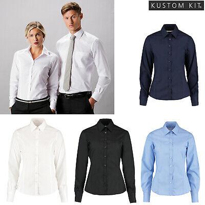 Kustom Kit Ladies Business Short Sleeve Smart Business Blouse Work Office Shirt
