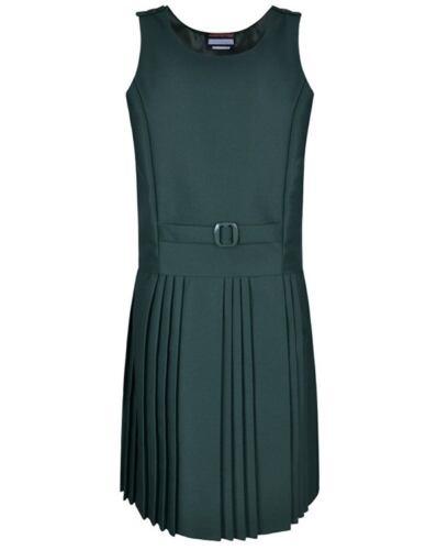 Girls School Uniform Belt Pinafore Dress Bottle Green Navy