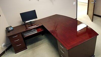 L Shape 7 Foot Bow Top Mahogany Desk