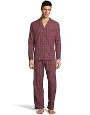 Hanes Mens Woven Pajamas Shirt Pants Set Lounge Sleepwear cotton blend sz S-5XL