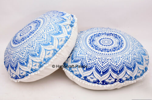 2PC Ombre Mandala Round Floor ow Cushion Indian Foot Stool Bean Bag tapestry