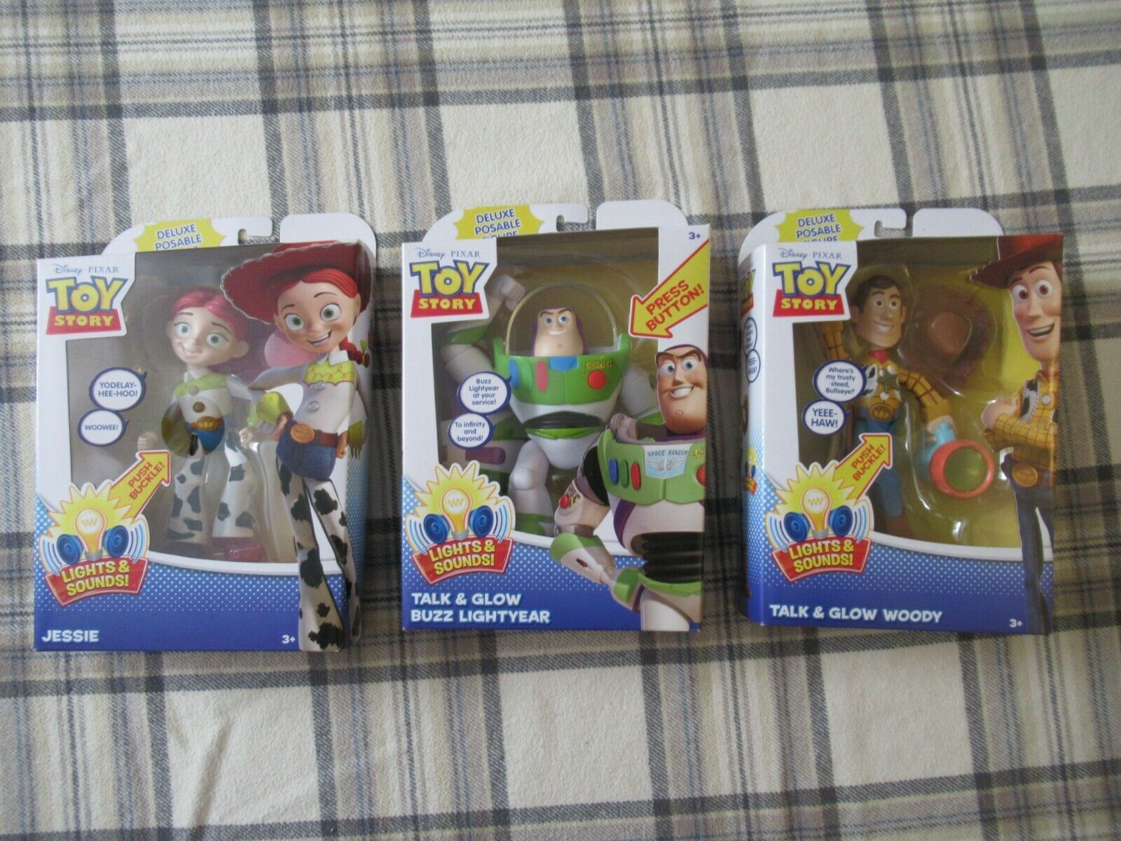 Toy Story  7  Deluxe Figures - LIGHTS & SOUNDS - Talk & Glow ( Full Set of 3 )