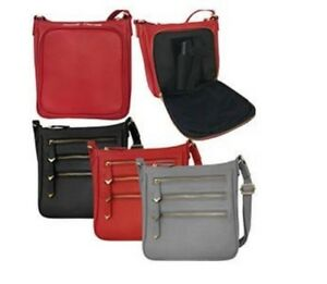 609262b6f07e Details about Leather Locking Concealment Crossbody Purse CCW Concealed  Carry Gun Square Bag