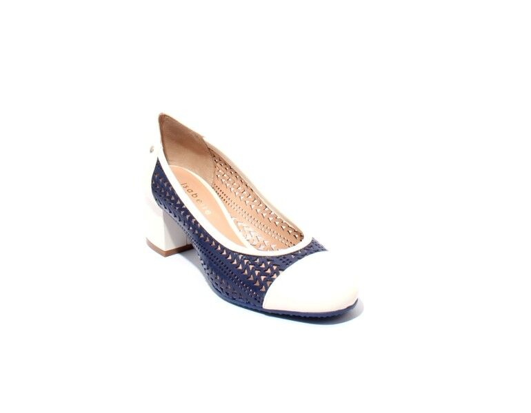 Isabelle 173m Navy bianca Perforated Leather Heel Round Toe Pumps 38.5 / US 8.5