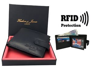 Mens-Designer-Leather-Wallet-RFID-SAFE-ID-Protection-Contactless-Card-Blocking