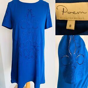 Oliver-Bonas-Poem-Blue-Shift-Dress-A-Line-Crochet-Embroidery-Knee-Length-Size-8