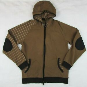 MINI-Cooper-Brown-Zip-up-Hooded-Sweatshirt-with-black-elbow-patches-Men-039-s-Large