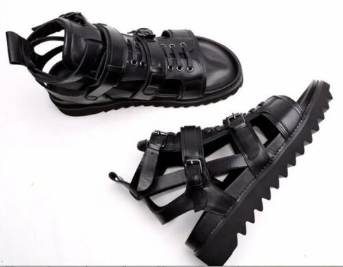 Mens Slingbacks Open Toe Buckle Cross Strap Leather High Top Gladiator Sandals