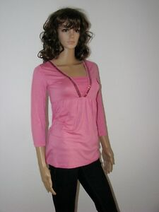 T-Shirt pink Viskose Elastan Figur Freizeit Tunika 32/34 36/38 Sale Neu *021*