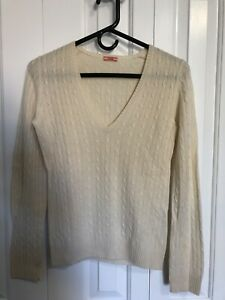 Details about Women J Crew Italian 100% Cashmere V Neck Cable Knit Sweater Small Off White