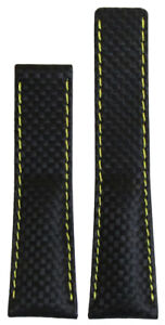 20mm-Panatime-Black-Carbon-Fiber-Style-Watch-Band-w-Yell-Stitch-For-Breitling-De