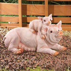 Image Is Loading Baby And Mama Pig Outdoor Garden Statue