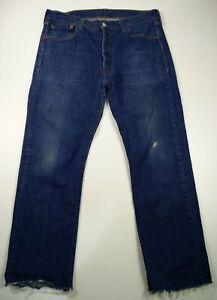 Homme-LEVI-039-S-501-straight-W36-L32-Dark-Wash-Denim-Jeans-Bouton-Bleu-Levi-Strauss