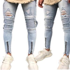 Mode-Homme-Gris-Retro-Jeans-Trou-dechire-Stretch-Denim-Jeans-Pantalons