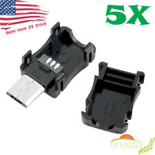 5pcs Micro USB 5 Pin T Port Male Plug Socket Connector and Plastic Covers DIY US
