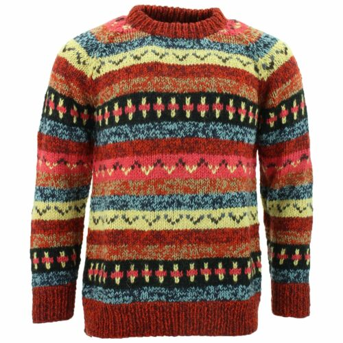 WOOL KNIT HIPPIE JUMPER ABSTRACT CHUNKY WARM SWEATER FESTIVAL XMAS MARKET