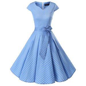 Women-Vintage-50s-V-Neck-Cap-Sleeve-Cocktail-Party-Retro-Rockabilly-Swing-Dress