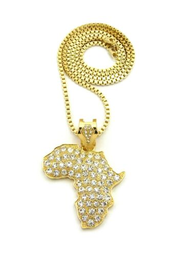 """New Ice Bling AFRICA CONTINENT Pendant With 3mm 30/"""" Box Chain"""