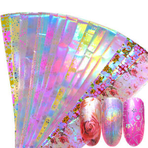 Pink-Flower-Nail-Foil-Manicure-Decor-Holographic-Starry-Nail-Art-Stickers