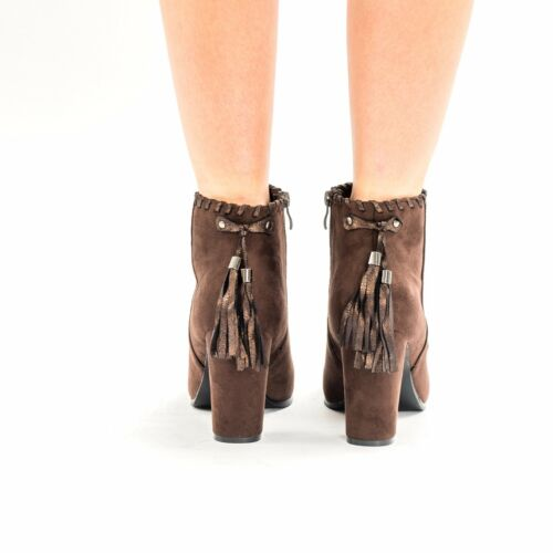 New Women/'s High Block Heels Pull On Stretch Suede Ladies Tassel Ankle Boots