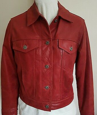 Liz Claiborne red leather jacket small jeans style jacket