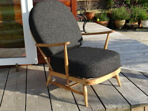 Cushions-Covers-Only-Ercol-203-Chair-Charcoal-Stitch