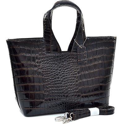 Women Crocodile Leather Handbag Patent Croco Satchel Bag Shoulder Strap Coffee
