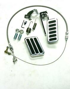 "Billet Aluminum Throttle//Gas Brake pad Pedal Kit 24/"" Braid Cable Return Spring"
