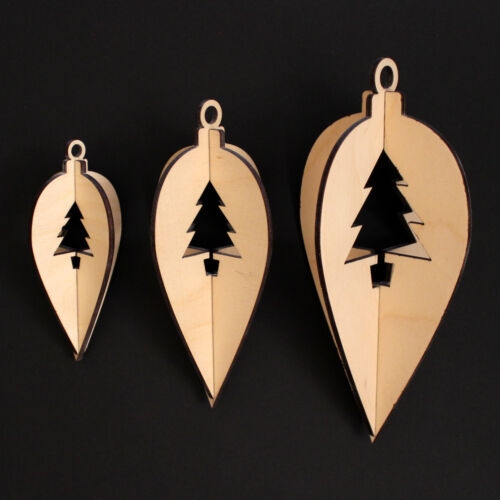 Wooden Christmas Hanging Decoration Teardrop Tree Style 3 sizes 3 per pack