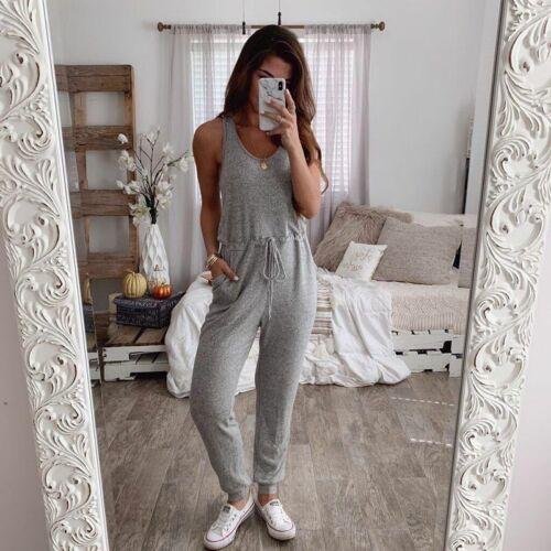 Women Summer Casual Sleeveless Jumpsuit Romper Loose Pants Comfy Suit Playsuit