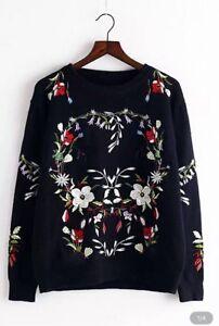 Nouveau-Femmes-Noir-Hiver-Broderie-Florale-Pull-Knitwear-Sweatshi