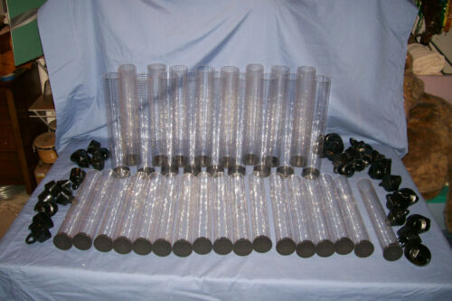 D Transparent Clear Plastic Storage Tubes Containers with End Caps
