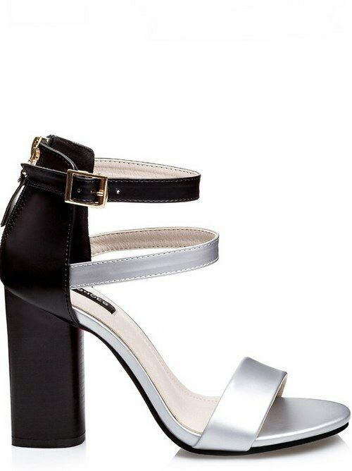 Sandals square elegant 9.5 cm black silver like leather elegant 8980