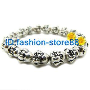 Lucky-Happy-Buddha-Bracelet-Tibetan-Silver-Charm-Charming-Elasticity-Bangle