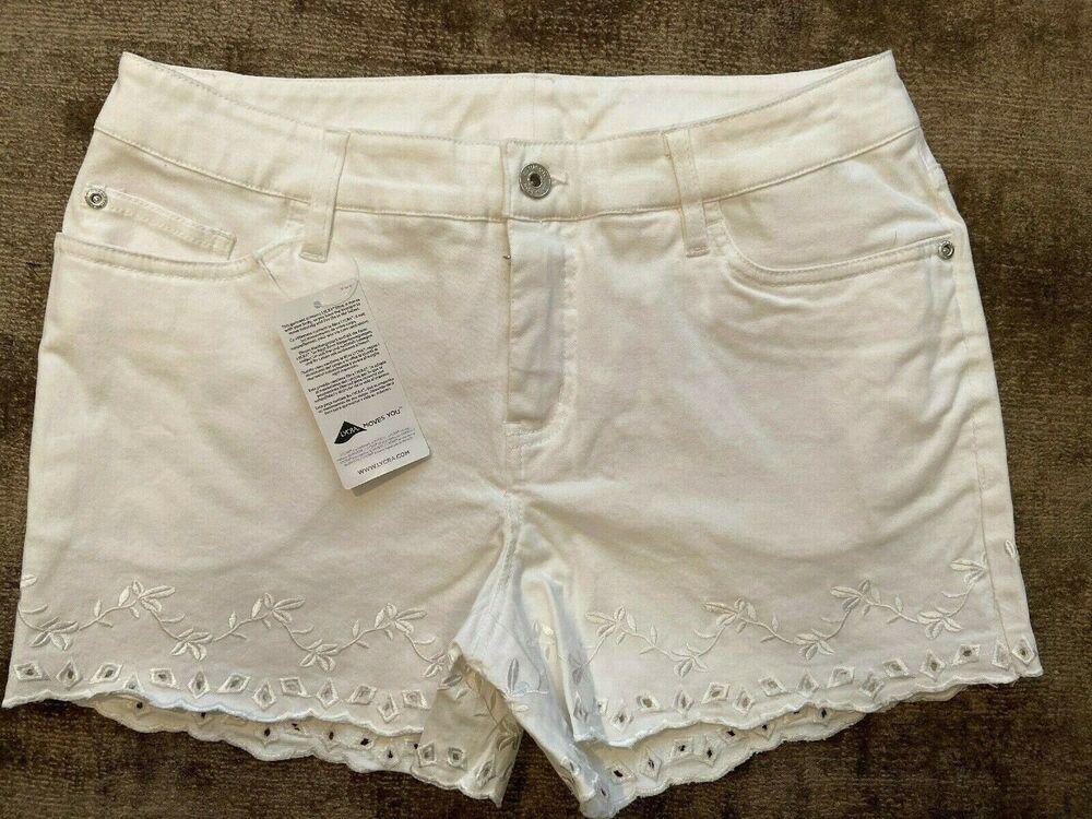 Arc-en-ciel Blanc En Sergé Superdry Brodé Denim Jeans Shorts Taille 12 Neuf