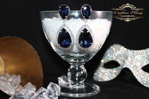 Brautschmuck-Hochzeit-Ohrringe-Ohrhaenger-XL-Silber-Blau-Kristall-Klar