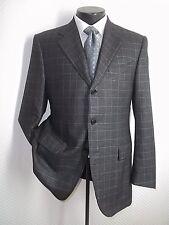 Piacenza Gray Plaid 3 Buttons Side Vents Cashmere & Silk Blend Jacket Coat 40 R